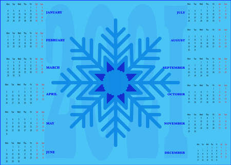 The calendar for 2021 is blue with a snowflake in the center.
