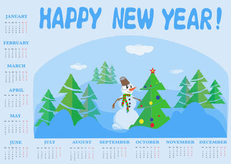 The 2021 calendar is blue with Christmas fir trees and a snowman in the center. Illusztráció
