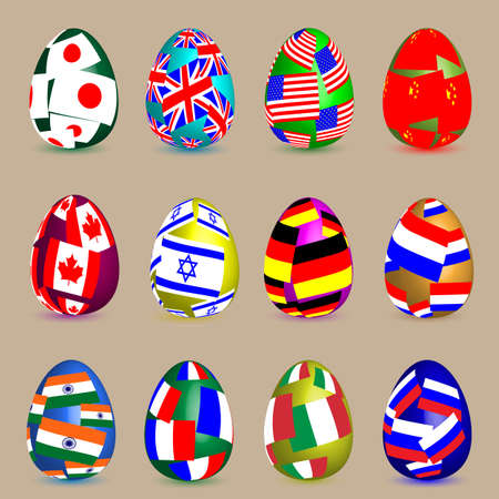 Twelve easter eggs of different colors with flags of different countries.