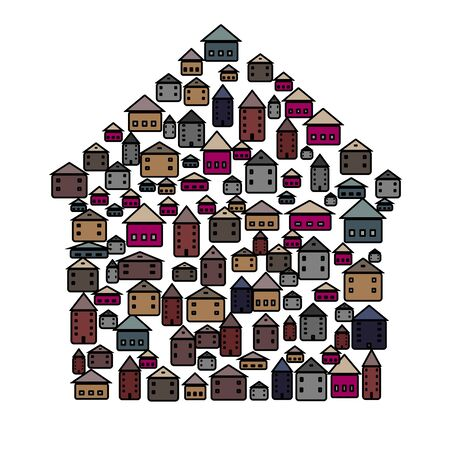 Vector illustration with group of cottages. Simple stylized icon of houses in the village.   Abstract sign of real estate