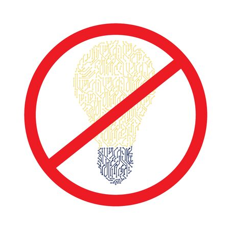 prohibition sign of electrical appliances. prohibition sign red color of electrical appliances