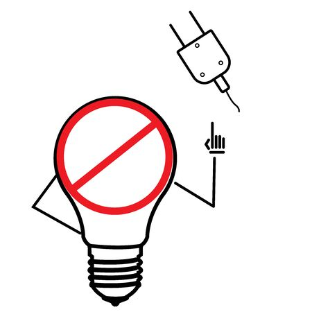 extension cord ban, prohibition icon. Simple glyph illustration of energy for UI and UX, website or mobile application Çizim