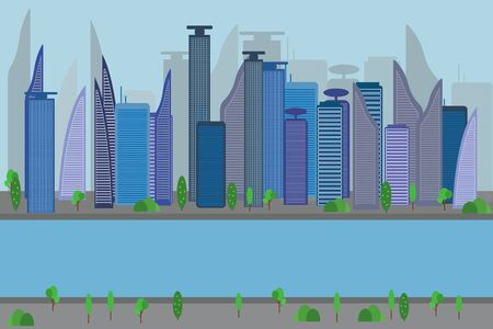 City view. Cityscape. Bench, lamp. Residental buildings. Road, truck, cars. Public transportation system. Waterfront, river embankment Clouds sky and sun  illustration in flat style Ilustração