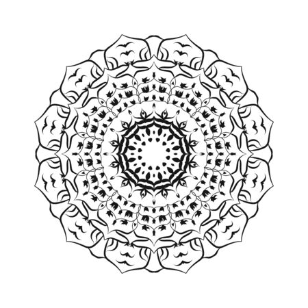 Vector hand drawn doodle mandala. Ethnic illustration with ornament. Isolated. Black and white colors. Outline. Coloring page for adult. Mandala with tribal ornament. Çizim