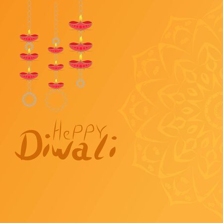 Elegant greetings vector illustration for indian festival diwali celebrations. Can be used for advertisement, poster, banner and backgrounds. Happy Diwali Vettoriali