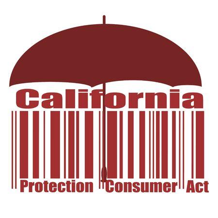 California Consumer Protection Act oder CCPA Flat Barcode Vector Icon für Anwendungen und Websites