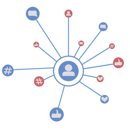 Social media marketing, Communication networking concept. Random icons social media services tags linked on white background. Comment, friend, like, share, target, message Illustration