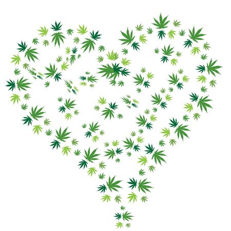 Heart of Bright green cannabis sativa leaves painted in watercolor. Realistic scientific illustration of plant. Hand drawn marijuana illustration isolated on black background.