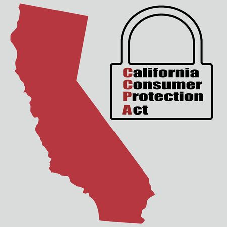 California Consumer Protection Act or CCPA symbol with lock flat vector icon for apps and websites Illustration