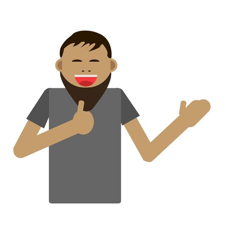 Portrait of excited business man dressed in black formal wear showing thumbs up sign. Deal, like, agree, approve, accept illustration concept in cartoon vector style.