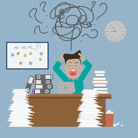 Businessman needs help under a lot of documents in the office and requests for help. Modern Idea and Concept Vector illustration