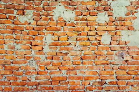 wall with refractory bricks of red color. old building Reklamní fotografie - 135476808
