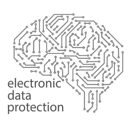 the brain is made in the form of a printed circuit board. electronic data protection concept. intellectual property