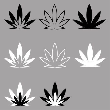 icons on the theme of marijuana use. jar with hemp leaf, bong, grinder, hemp plant leaf. Icons for design and website creation