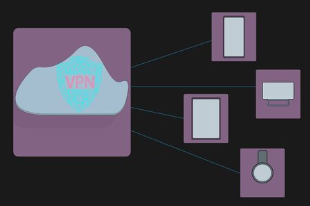 Wifi icon and padlock. VPN network security internet privacy encryption concept. Illustration