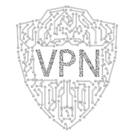 Wifi icon and padlock. VPN network security internet privacy encryption concept. 向量圖像