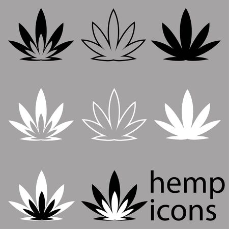 icons on the theme of marijuana use. jar with hemp leaf, bong, grinder, hemp plant leaf. Icons for design and website creation