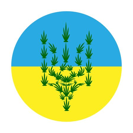 the coat of arms of Ukraine from cannabis leaves against the background of the flag. the concept of legalizing marijuana in Ukraine, decriminalizing light drugs and using hemp for medical purposes.