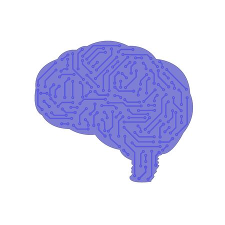 brain in the form of a printed circuit board. computer chip. artificial intelligence concept. Иллюстрация