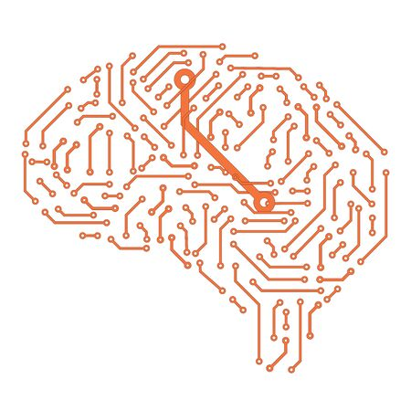 brain in the form of a printed circuit board. computer chip. artificial intelligence concept.