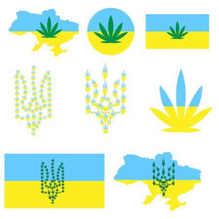 Symbols of the Ukrainian state from hemp leaves. flag map emblem. concept of legalization of marijuana in Ukraine, decriminalization of lung drugs and the use of hemp for medical purposes. Vectores