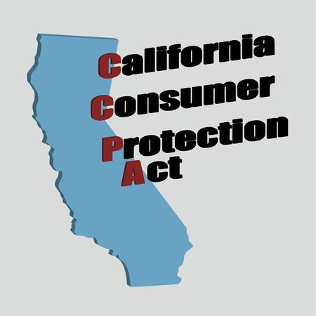 California Consumer Protection Act or CCPA symbol with lock flat vector icon for apps and websites.3d Illustration