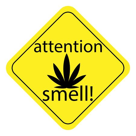 warning sign of pungent smell of marijuana. hemp ban sign on a white background. vector graphic for design. attention smell
