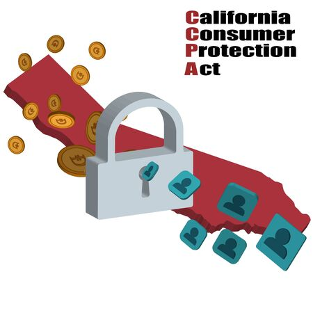 monetization of personal data. lock, human icons, coins. 3d isometric vector.ccpa.California Consumer Privacy Act