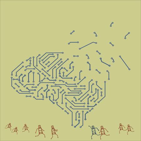 brain in the form of a printed circuit board. computer chip. artificial intelligence concept.  イラスト・ベクター素材