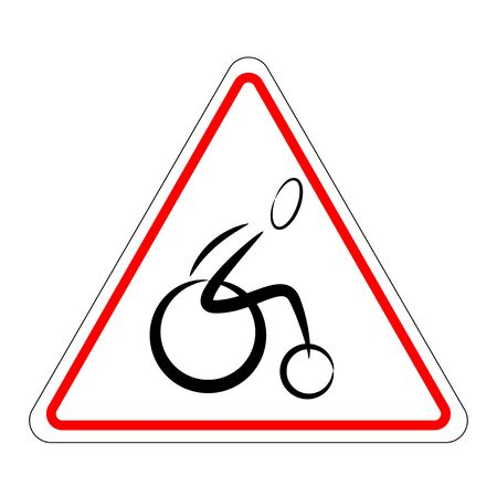 Wheelchair sign. triangular attention sign with a wheelchair user. A warning sign about the movement of disabled people Ilustracja