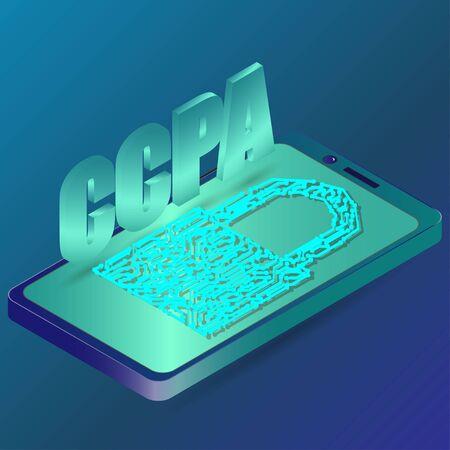 CCPA - California Consumer Privacy Act. vector background. USA data security.