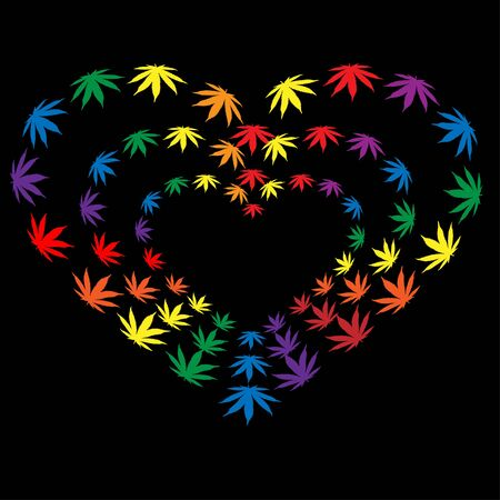 heart made of hemp leaves. The concept of love for marijuana and light drugs.Vector illustration on a black background.