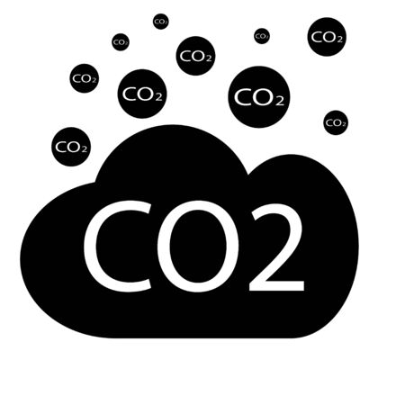 CO2 emissions in cloud icon isolated. Carbon dioxide formula symbol, smog pollution concept, environment concept, combustion products. Co2 design.