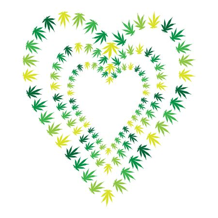 heart made of hemp leaves. concept of love for marijuana and soft drugs.vector illustration on a white background