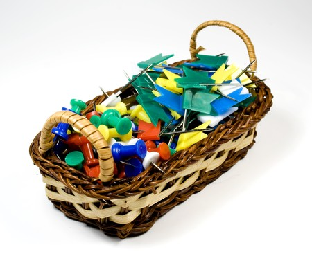bast basket: Bast basket with colored pushpins and tags