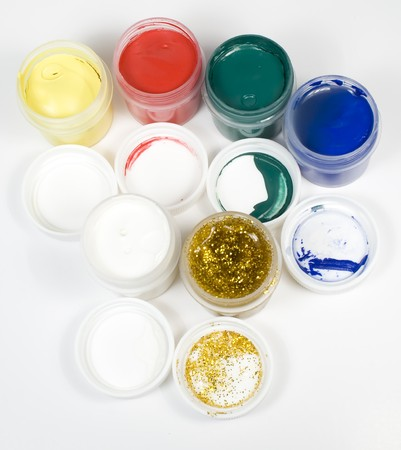 Set of several colors gouache open tubes photo