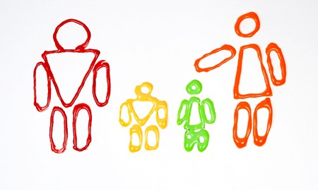 Drawing of family: father, mother, son and daughter Stock Photo - 4163130