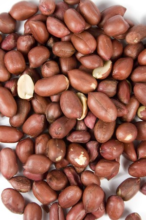 goober: peanut (goober) in red pod without nutshell Stock Photo