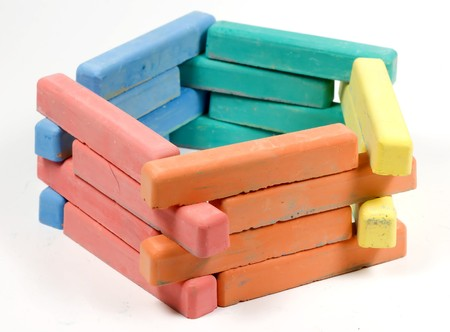 pentagon: pentagon from childrens colored chalk on white Stock Photo
