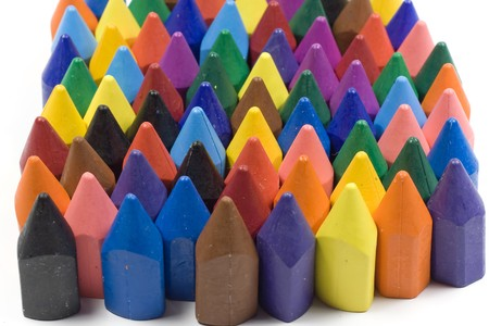 Wax crayons, mixed group on white background photo