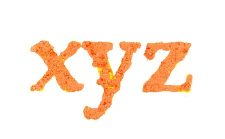 xyz: Original alphabet, the crushed orange chalk, letters xyz