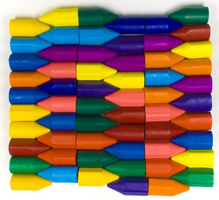 Stacked horizontal rows from wax pencils, multicolors Stock Photo - 4463098