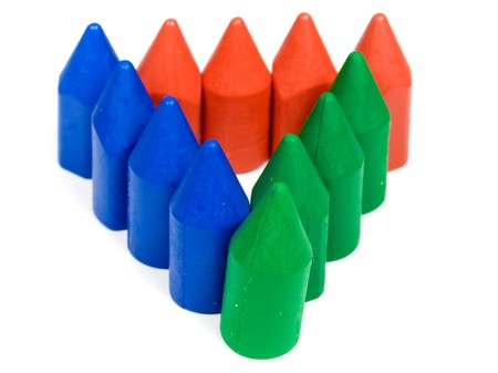 Triangle from red. blue and green wax pencils Stock Photo - 4463040