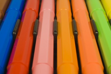 Childrens color felt-tip pens close up photo