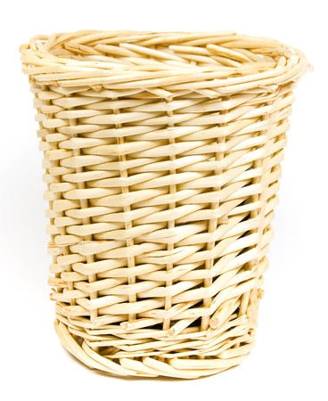 trifles: Bast basket for various trifles on a white background