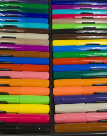 Many color felt-tip pens in plastic packing black color photo