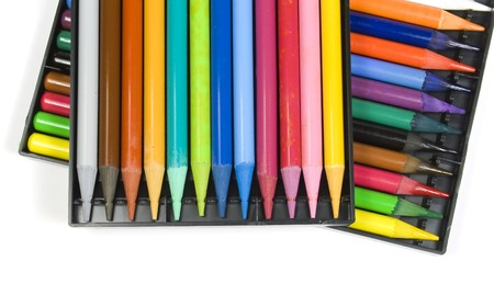 Twenty four color pencils in two black boxes Stock Photo - 4518197