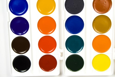 capacities: Water colour paints in capacities of the round form of various shades Stock Photo