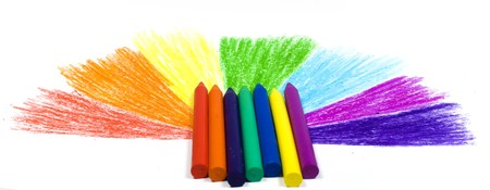 Seven wax crayons on a background the drawn semicircle from missing beams of colors of a rainbow Stock Photo - 4518214