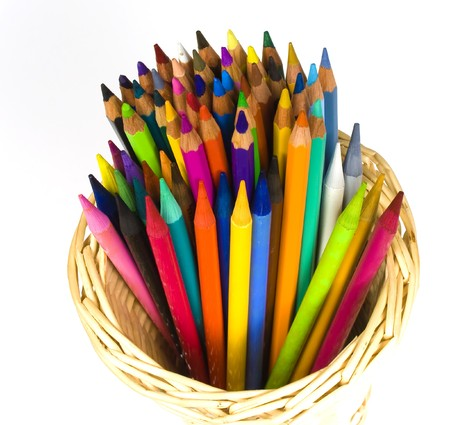 bast basket: Color wooden and woodless crayons in bast  basket